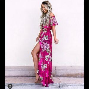 Express floral off the shoulder maxi dress